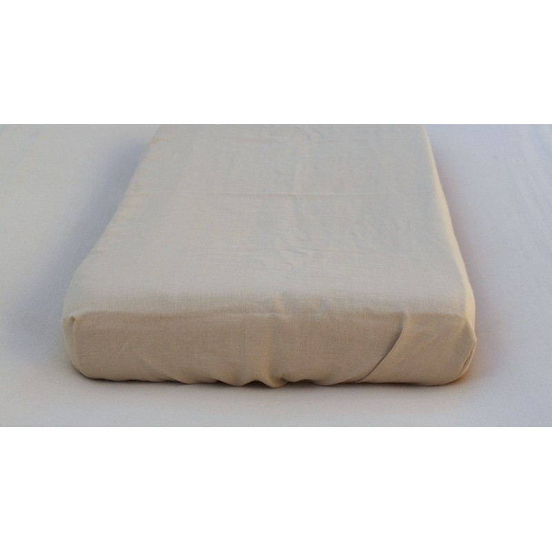 Torchon LIN fines rayures beiges sur fond ivoire
