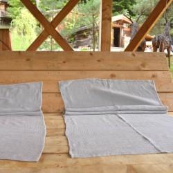 Grandes serviettes en pur lin gris nid d'abeille