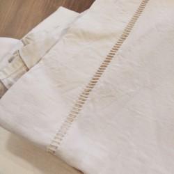 Drap plat ancien avec jour échelle en lin ivoire