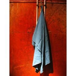 Drap de douche en pur lin bleu