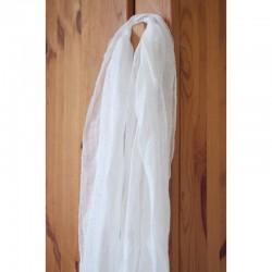 Echarpe aérienne en étamine de lin blanc