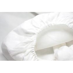 Drap-housse élastiqué en PUR LIN blanc lavé