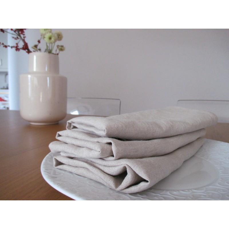 Serviette de table carrée en lin naturel