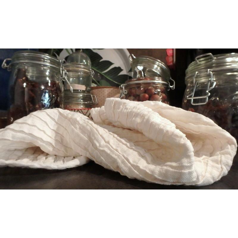 Essuie-main en lin mini vague ivoire