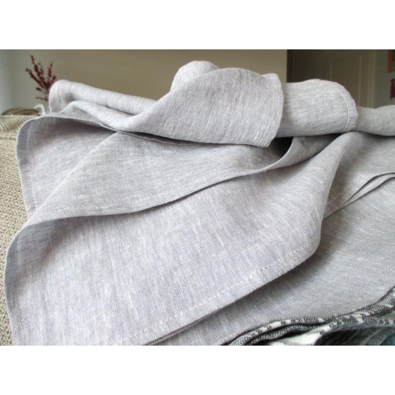 Serviette en pur lin gris clair