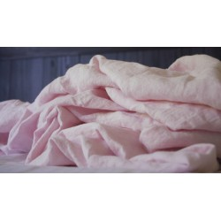 Drap-housse en pur lin lavé rose