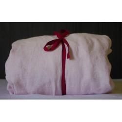 Drap-housse en pur lin lavé rose fait en France